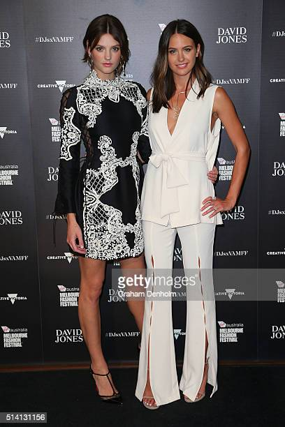 Montana Cox and Jesinta Campbell pose as they arrive for the David Jones opening event as part of Virgin Australia Melbourne Fashion Festival on...