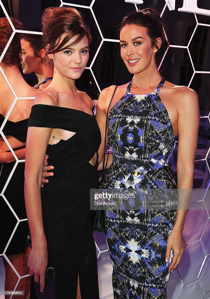 Montana Cox and Megan Gale pose during the after party at the David Jones Spring/Summer 2013 Collection Launch at David Jones Elizabeth Street on July 31, 2013 in Sydney, Australia.
