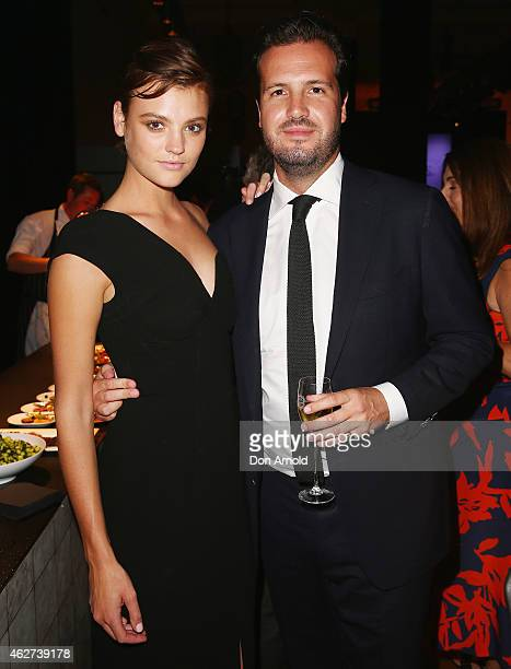 Montana Cox and Tim Holmes A'Court poses after the David Jones Autumn/Winter 2015 Collection Launch at David Jones Elizabeth Street Store on February...