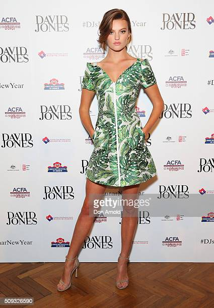 Montana Cox arrives ahead of the Lunar New Year Designer Collection Launch Party at David Jones Elizabeth Street Store on February 10 2016 in Sydney...