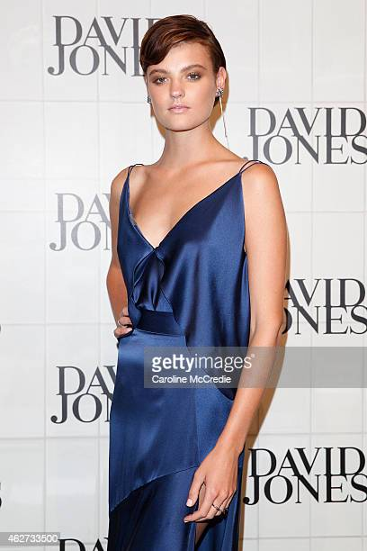 Montana Cox arrives at the David Jones Autumn/Winter 2015 Collection Launch at David Jones Elizabeth Street Store on February 4 2015 in Sydney...