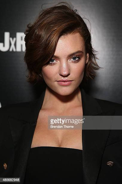 Montana Cox arrives at the 'RE Denim For David Jones' launch party at St James Station on August 29 2015 in Sydney Australia