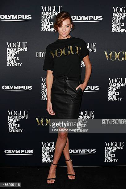 Montana Cox arrives at Vogue Fashion's Night Out on September 3 2015 in Sydney Australia
