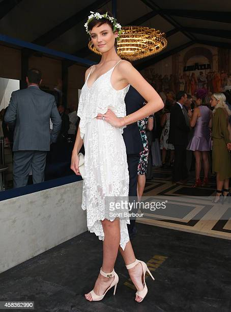Montana Cox attends the Lavazza Marquee on Melbourne Cup Day at Flemington Racecourse on November 4 2014 in Melbourne Australia
