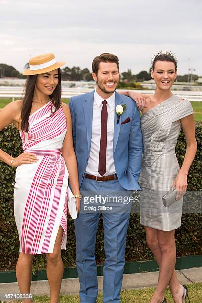 Montana Cox Jesica Gomes and Jason Dundas attend the Caulfield Cup Carnival day at Caulfield Racecourse on October 18 2014 in Melbourne Australia