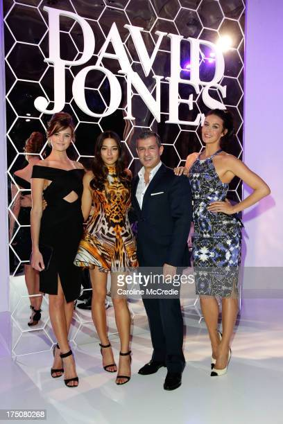 Montana Cox Jessica Gomes CEO David Jones Paul Zahra and Megan Gale pose after the David Jones Spring/Summer 2013 Collection Launch at David Jones...