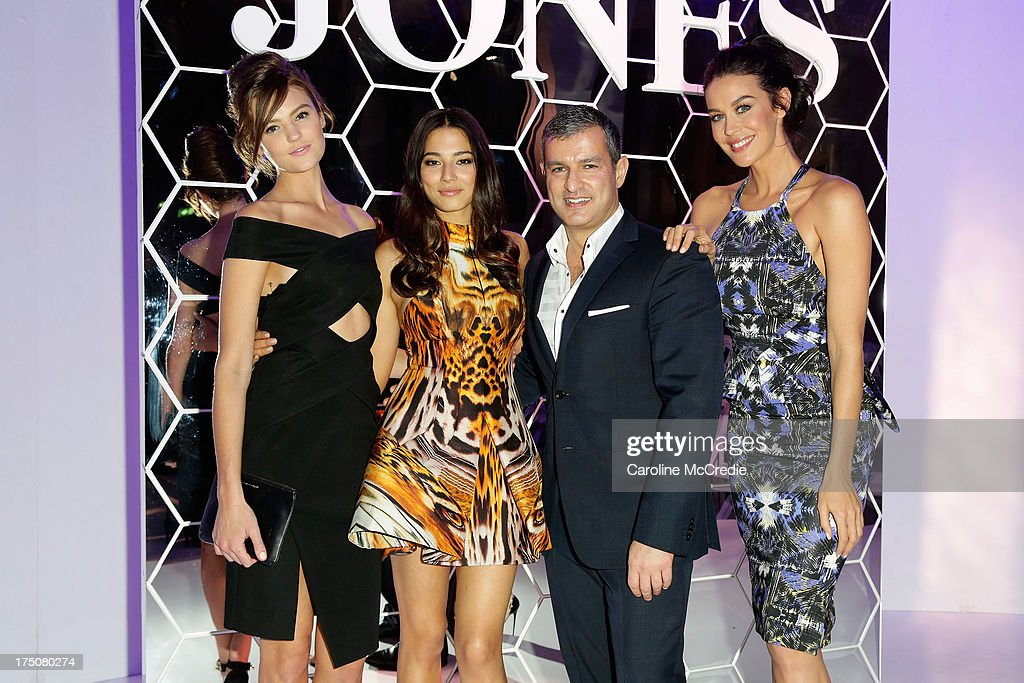 Montana Cox, Jessica Gomes, CEO David Jones Paul Zahra and Megan Gale pose after the David Jones Spring/Summer 2013 Collection Launch at David Jones Elizabeth Street on July 31, 2013 in Sydney, Australia.