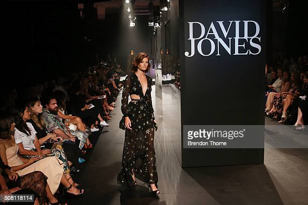 Montana Cox showcases designs by Bec Bridge on the runway at the David Jones Autumn/Winter 2016 Fashion Launch at David Jones Elizabeth Street Store...