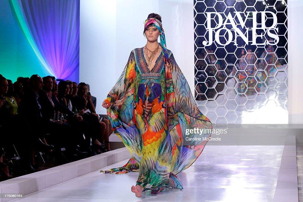 Montana Cox showcases designs by Camilla at the David Jones Spring/Summer 2013 Collection Launch at David Jones Elizabeth Street on July 31, 2013 in Sydney, Australia.