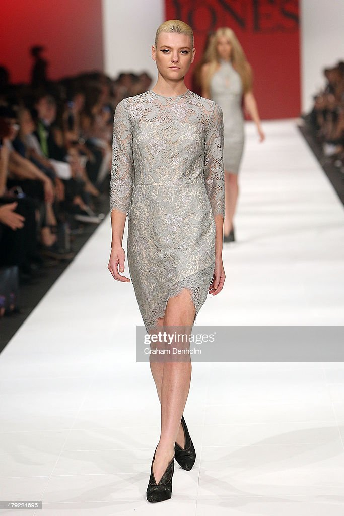 Montana Cox showcases designs by Lover on the runway during the 2014 Virgin Australia Melbourne Fashion Festival Opening Event presented by David Jones at Docklands on March 17, 2014 in Melbourne, Australia.
