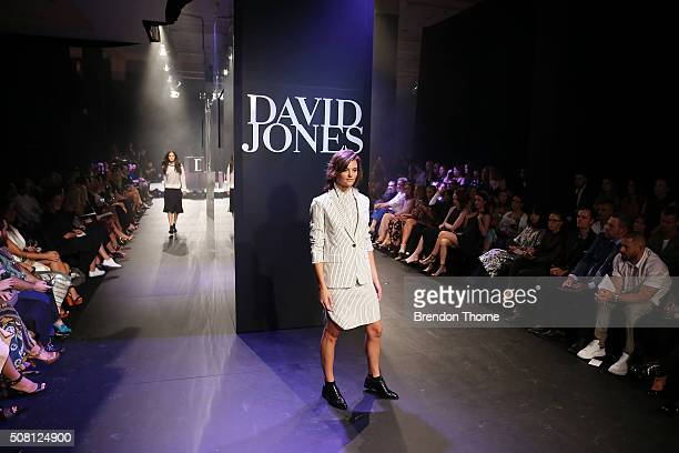 Montana Cox showcases designs by Rag Bone the runway at the David Jones Autumn/Winter 2016 Fashion Launch at David Jones Elizabeth Street Store on...