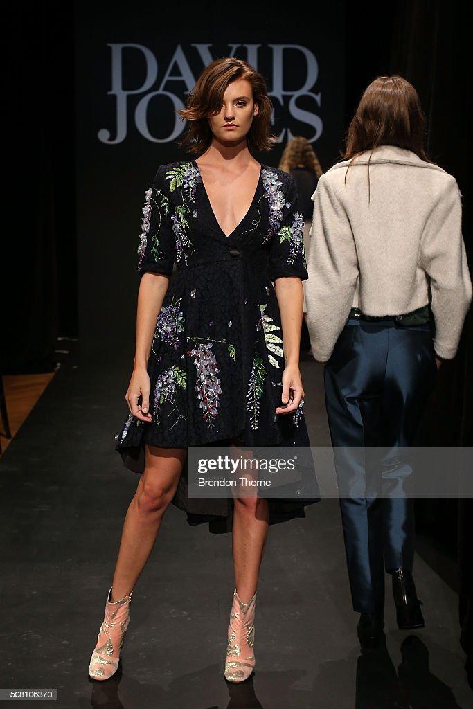 Montana Cox showcases designs by Romance was Born during rehearsal ahead of the David Jones Autumn/Winter 2016 Fashion Launch at David Jones...