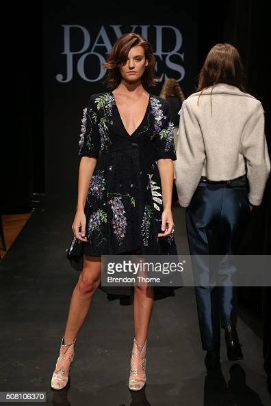 Montana Cox showcases designs by Romance was Born during rehearsal ahead of the David Jones Autumn/Winter 2016 Fashion Launch at David Jones...