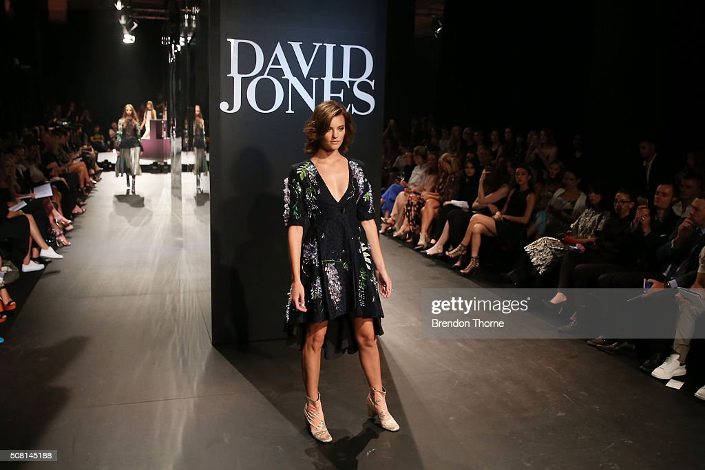 Montana Cox showcases designs by Romance was Born on the runway at the David Jones Autumn/Winter 2016 Fashion Launch at David Jones Elizabeth Street...