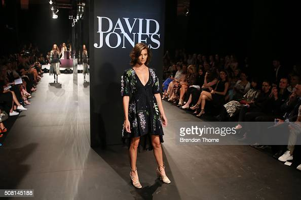 Montana Cox showcases designs by Romance was Born on the runway at the David Jones Autumn/Winter 2016 Fashion Launch at David Jones Elizabeth Street...