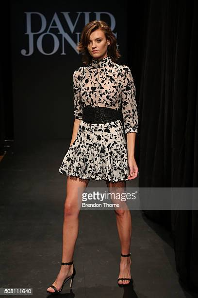 Montana Cox showcases designs by Zimmermann during rehearsal ahead of the David Jones Autumn/Winter 2016 Fashion Launch at David Jones Elizabeth...