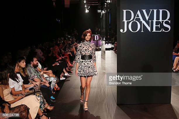 Montana Cox showcases designs by Zimmermann on the runway at the David Jones Autumn/Winter 2016 Fashion Launch at David Jones Elizabeth Street Store...