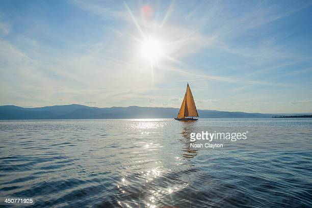 USA, Montana, Flathead Lake, Tranquil scene with sailboat