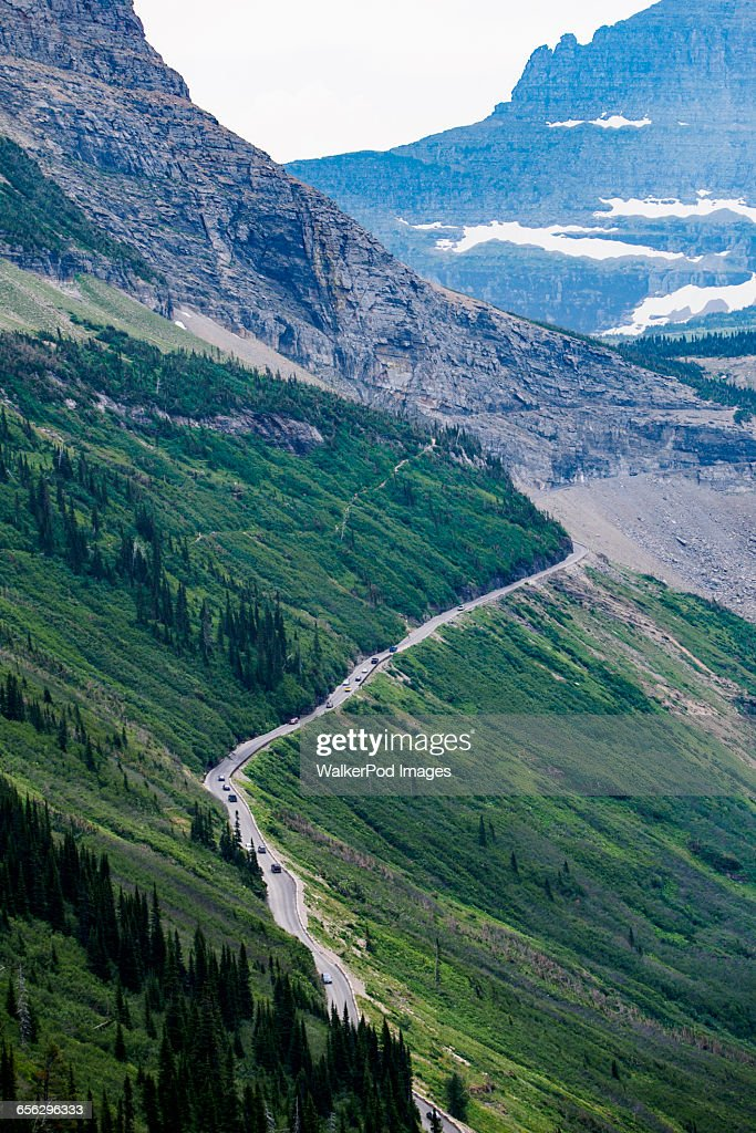 USA, Montana, Glacier National Park, Road in mountains