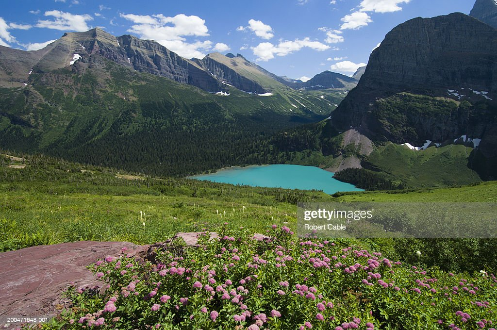 USA, Montana, Glacier NP, Grinnell Lake, elevated view, summer
