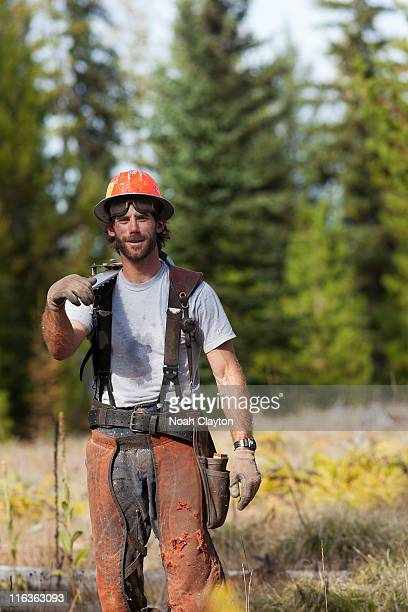 USA, Montana, Lakeside, portrait of lumberjack