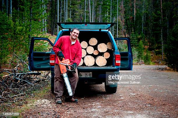 A Montana man with his chainsaw.