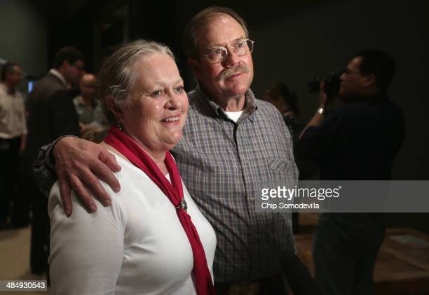 Montana ranchers Kathy Wankel and her husband Tom Wankel talk with reporters at the Smithsonian National Museum of Natural History April 15 2014 in...