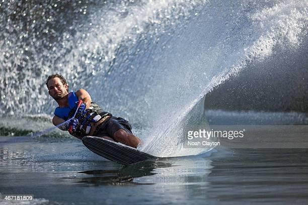 USA, Montana, Whitefish, Whitefish Lake, Man waterskiing
