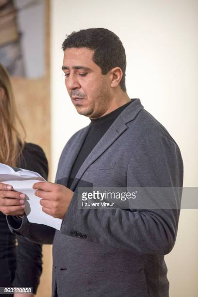 Montassar Alaia reads 'Tombeau pour Cinq Cent Mille Soldats' for 50th anniversary of the book at Azzedine Alaia Gallery on October 19 2017 in Paris...