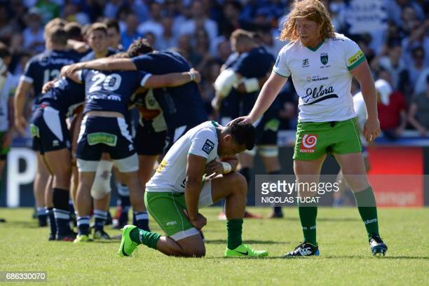 Montauban's players react after the French Pro D2 final rugby match between Montauban and Agen on May 21 2017 at the ChabanDelmas stadium in Bordeaux...