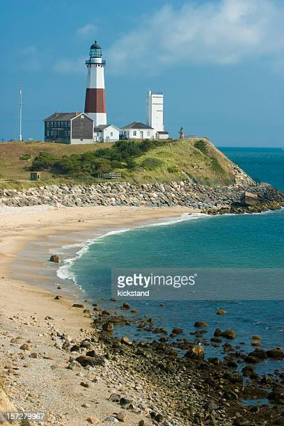 Montauk Lighthouse beside a beautiful beach