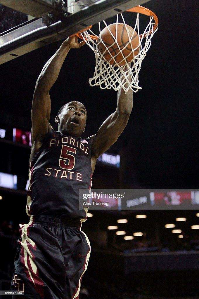 Montay Brandon #5 of the Florida State Seminoles dunks the ball against the Saint Joseph's Hawks during the championship game of the Coaches Vs. Cancer Classic at the Barclays Center on November 17, 2012 in the Brooklyn borough of New York City.