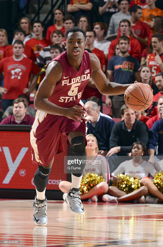 Montay Brandon #5 of the Florida State Seminoles handles the ball against the Maryland Terrapins at the Comcast Center on January 9, 2013 in College Park, Maryland.