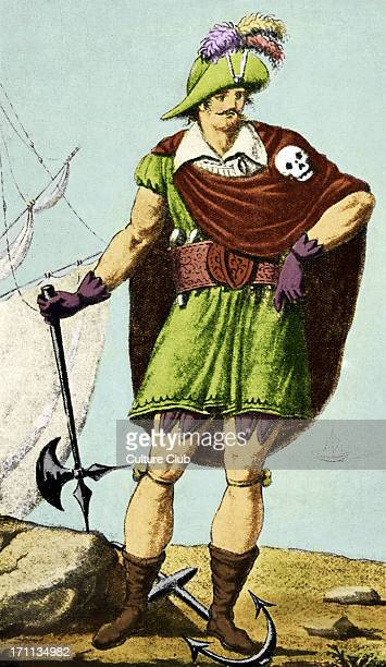 Montbars the Exterminator wearing skull and crossbones Engraving by RascalonFrench Buccaneer born c 1645 Colourised version