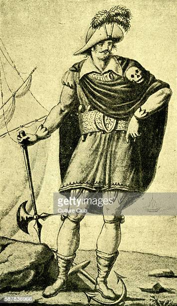 Montbars the Exterminator wearing skull and crossbones Engraving by RascalonFrench Buccaneer born c 1645