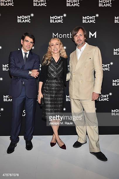 Montblanc CEO Jerome Lambert Franca Sozzani and Marc Newson attend 'Montblanc M' Writing Instruments Launch cocktail party on June 3 2015 in Milan...