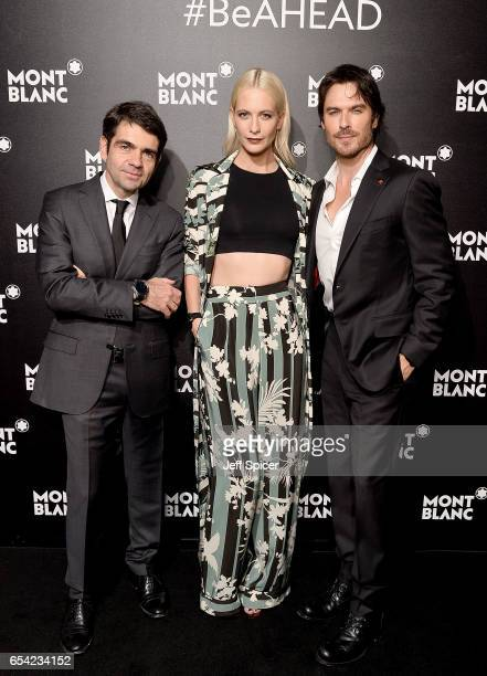 Montblanc CEO Jerome Lambert Ian Sommerholder and Poppy Delevingne attend the Montblanc Summit launch event at The Ledenhall Building on March 16...