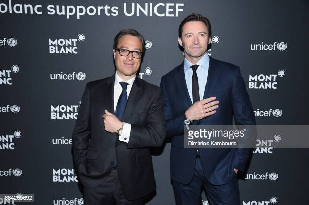 Montblanc CEO Nicolas Baretzki and Hugh Jackman attend the Montblanc UNICEF Gala Dinner at the New York Public Library on April 3 2017 in New York...
