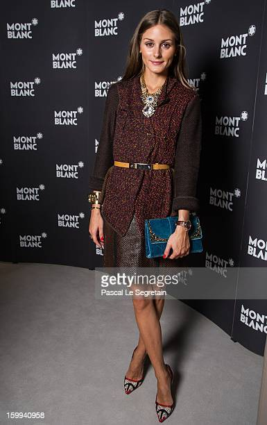 Montblanc friend of the brand Olivia Palermo visits the Montblanc booth during the SIHH 2013 on January 23 2013 in Geneva Switzerland