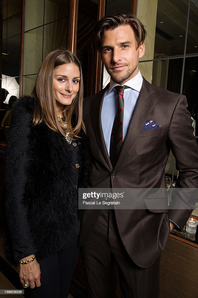 Montblanc friends of the brand <a gi-track='captionPersonalityLinkClicked' href=/galleries/search?phrase=Olivia+Palermo&family=editorial&specificpeople=2639086 ng-click='$event.stopPropagation()'>Olivia Palermo</a> (wearing Montblanc Star Classique Automatic watch) and <a gi-track='captionPersonalityLinkClicked' href=/galleries/search?phrase=Johannes+Huebl&family=editorial&specificpeople=5696811 ng-click='$event.stopPropagation()'>Johannes Huebl</a> (wearing Montblanc Star 4810 Chronograph) attend the Montblanc VIP dinner at SIHH 2013 on January 22, 2013 in Geneva, Switzerland.