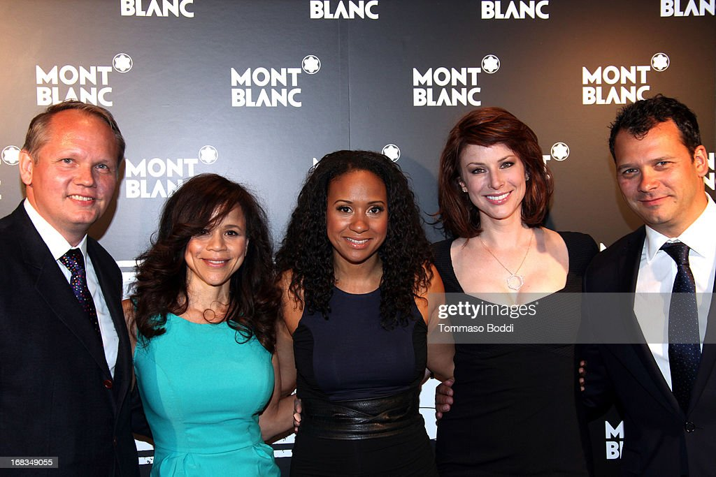 Montblanc North America CEO Jan Patrick Schmitz, Actresses <a gi-track='captionPersonalityLinkClicked' href=/galleries/search?phrase=Rosie+Perez&family=editorial&specificpeople=171833 ng-click='$event.stopPropagation()'>Rosie Perez</a>, <a gi-track='captionPersonalityLinkClicked' href=/galleries/search?phrase=Tracie+Thoms&family=editorial&specificpeople=556069 ng-click='$event.stopPropagation()'>Tracie Thoms</a>, <a gi-track='captionPersonalityLinkClicked' href=/galleries/search?phrase=Diane+Neal&family=editorial&specificpeople=208857 ng-click='$event.stopPropagation()'>Diane Neal</a> and Executive Director at Urban Arts Partnership Philip Courtney attend the Montblanc Presents: The 24 Hour Plays 2013 LA cast announcement and kick-off party held at Montblanc Rodeo Drive Boutique on May 8, 2013 in Beverly Hills, California.
