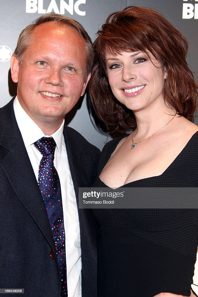 Montblanc North America CEO Jan Patrick Schmitz (L) and Actress <a gi-track='captionPersonalityLinkClicked' href=/galleries/search?phrase=Diane+Neal&family=editorial&specificpeople=208857 ng-click='$event.stopPropagation()'>Diane Neal</a> attend the Montblanc Presents: The 24 Hour Plays 2013 LA cast announcement and kick-off party held at Montblanc Rodeo Drive Boutique on May 8, 2013 in Beverly Hills, California.