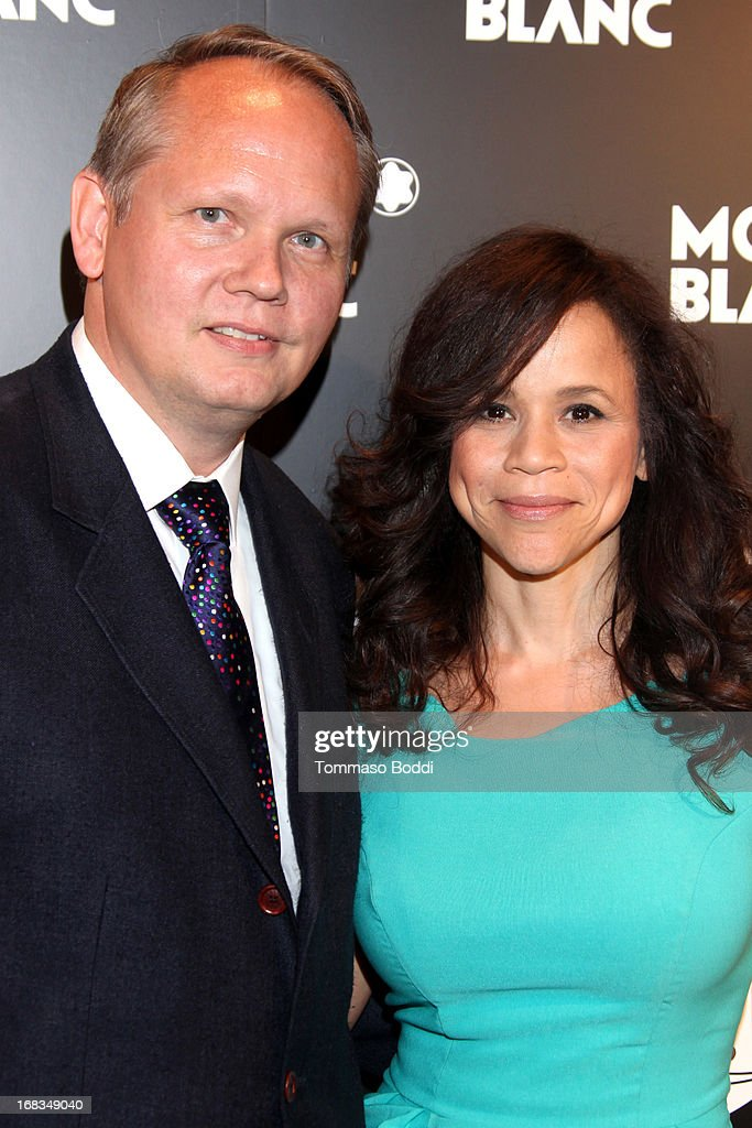 Montblanc North America CEO Jan Patrick Schmitz (L) and Actress <a gi-track='captionPersonalityLinkClicked' href=/galleries/search?phrase=Rosie+Perez&family=editorial&specificpeople=171833 ng-click='$event.stopPropagation()'>Rosie Perez</a> attend the Montblanc Presents: The 24 Hour Plays 2013 LA cast announcement and kick-off party held at Montblanc Rodeo Drive Boutique on May 8, 2013 in Beverly Hills, California.