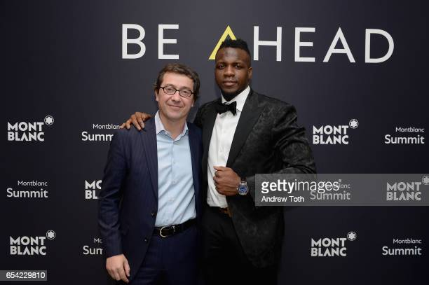 Montblanc North America president Sylvain Costof and Atlanta Falcon's wide receiver Mohamed Sanu attend Montblanc's unveiling of their firstever...