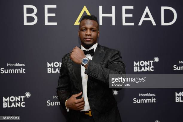Montblanc's unveiled their firstever smartwatch The Summit Collection with Atlanta Falcon Mohamed Sanu on March 16 2017 in New York City