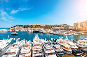 Landscape view on the bay with luxury yachts on the french riviera in Monte Carlo in Monaco