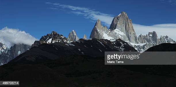 Monte Fitz Roy stands in Los Glaciares National Park part of the Southern Patagonian Ice Field on December 2 2015 in Santa Cruz Province Argentina...