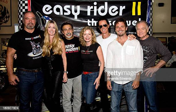 Monte Johnson Jodie Fisher Vince Morella Sheree J Wilson Phil Pitzer Chris Engen and Newell Alexander attend the Easy Rider The Ride Back 'RideIn'...