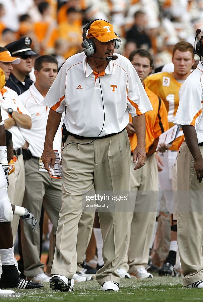 Monte Kiffin defensive coordinator of the Tennessee Volunteers looks on against the UCLA Bruins on September 12 2009 at Neyland Stadium in Knoxville...