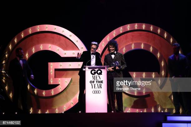 Monte Morgan and Harvey Miller of Client Liaison accept the award for Band of the Year during the GQ Men Of The Year Awards Ceremony at The Star on...